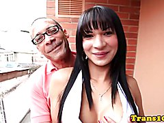 Busty latina tranny assfucked doggystyle