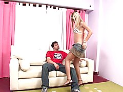blonde haired Tgirl get fucked