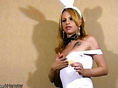 Horny tranny strips off white lingerie and fingers asshole  - clip # 02