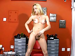 Intriguing t-girl with tanned boobs is tugging her shemeat  - clip # 02