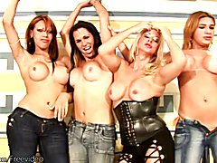 Four shebabes in tight jeans lick each others huge boobs