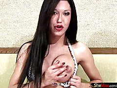 Ass fingering TS fondles her boobs and balls while stroking
