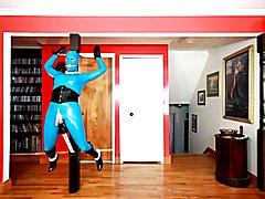 Rubber Shemale Sex Slave - bound statue  - clip # 02