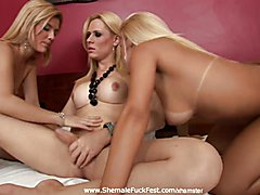 Two lesbians and a tranny THREESOME TIME  - clip # 02