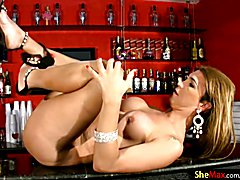 Passionate shebabe undresses on the bar and teases long dick  - clip # 02