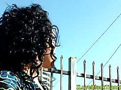 Nubian shemale tugging her big tool