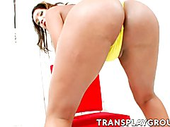 Charming tranny Carol Prado satisfies herself on a chair