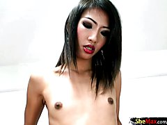 Asian ladyboy beauty handjobs tourists dick on camera in POV  - clip # 02