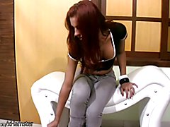 FULL movie of Red haired shebabe oiling up her puffy nipples  - clip # 02