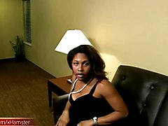 Well rounded ebony t-girl strips off and plays with bigtits  - clip # 02