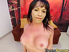 Slutty latina tranny wanking her dick until she cums