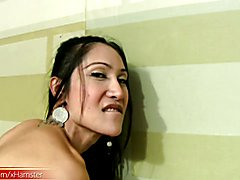 Pretty ladyboy shows ass and squirts cum into her GFs mouth