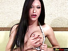 Ass fingering TS fondles her boobs and balls while stroking  - clip # 02