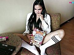 Very Hot Babe Horny Brunette TS Filipina  - clip # 02
