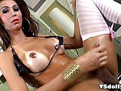 T-girl Thalia Brasil jerking her big she-cock