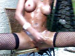Latina tranny gets messy and jerks off shemeat till cumshot  - clip # 02
