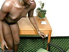 Black cock girl wanks off her shecock at work and spermloads  - clip # 02