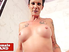 Inked trans beauty pulling cock in the shower