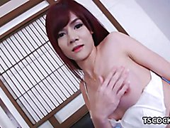 Horny Shemale playing with her big boobs and hard dick