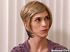 Trans assistant anally pleasured by hunky boss