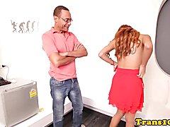 Redheaded latina tgirl cockriding after bj