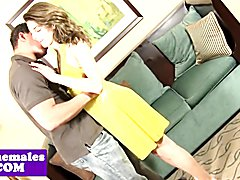 Glamour tranny pounded on couch