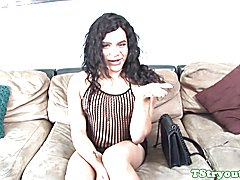 Casting tgirl strips and jerks her hard cock