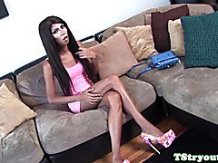Black trans beauty wanking on casting couch