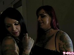 Inked les tranny assfucking bigtitted lover