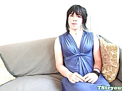 Amateur tgirl spreads ass on casting couch