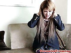 Ladyboy schoolgirl facialized after assfucked