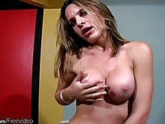 Feminine shegirl squeezes her new breasts and gets oiled up  - clip # 02