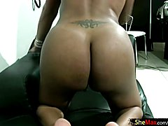Big breasted ebony TS lotions her body and wanks cummy penis  - clip # 02