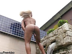 T-girl cools off her throbbing shemeat in water and cumshots  - clip # 02
