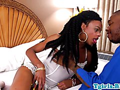 Natural black tgirl bare fucked doggystyle