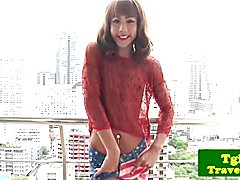 Solo tgirl jerking off and fingering her ass