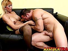 Blonde cheerleader tranny Celeste enjoys a hardcore sex