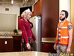 Hot transsexual Tara Emory gets fucked roughly by a handyman
