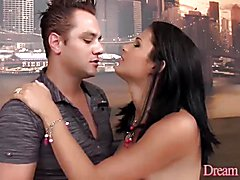 Shemale Nicolly Dickman cums in a guy's ass