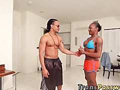 Ebony trans takes a huge cock iin her mouth and ass