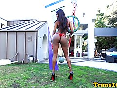 Ebony tgirl riding strapon before doggystyle