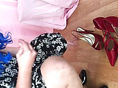 Fun with red high heel shoes