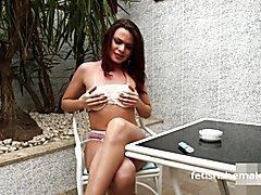Shemale Smokes a Cig and Teases