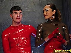 Busty latina bdsm ts rimmed by tiedup sub