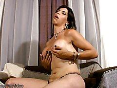 FULL video of Hardcore masturbating shemale with round boobs