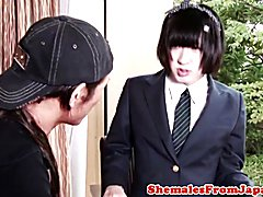 Nippon tranny dickriding reversecowgirl