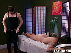 Feetloving TS masseuse plows pussy on table