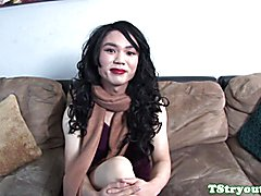 Casting ladyboy amateur wanking her dong