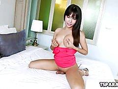 Asian Trans Cutie Layla E Strokes Her Cock