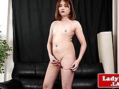 Chubby ginger ladyboy wanks hard cock solo